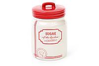 Банка керамическая Natural Bonadi Sugar 900 мл для сыпучих продуктов Красная (DM107-S)