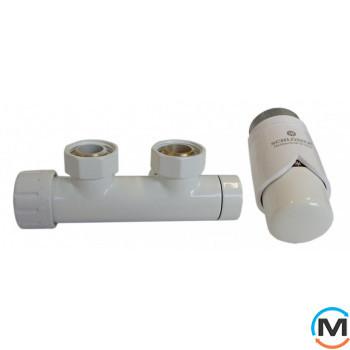 Комплект Schlosser Duo-Plex 3/4 x M 22х1,5 угловой левый белый 2 шт Нипель белый