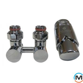 Комплект эксклюзивных узлов Schlosser прямой 3/4 x M 22х1,5 Нипель 2 шт хром
