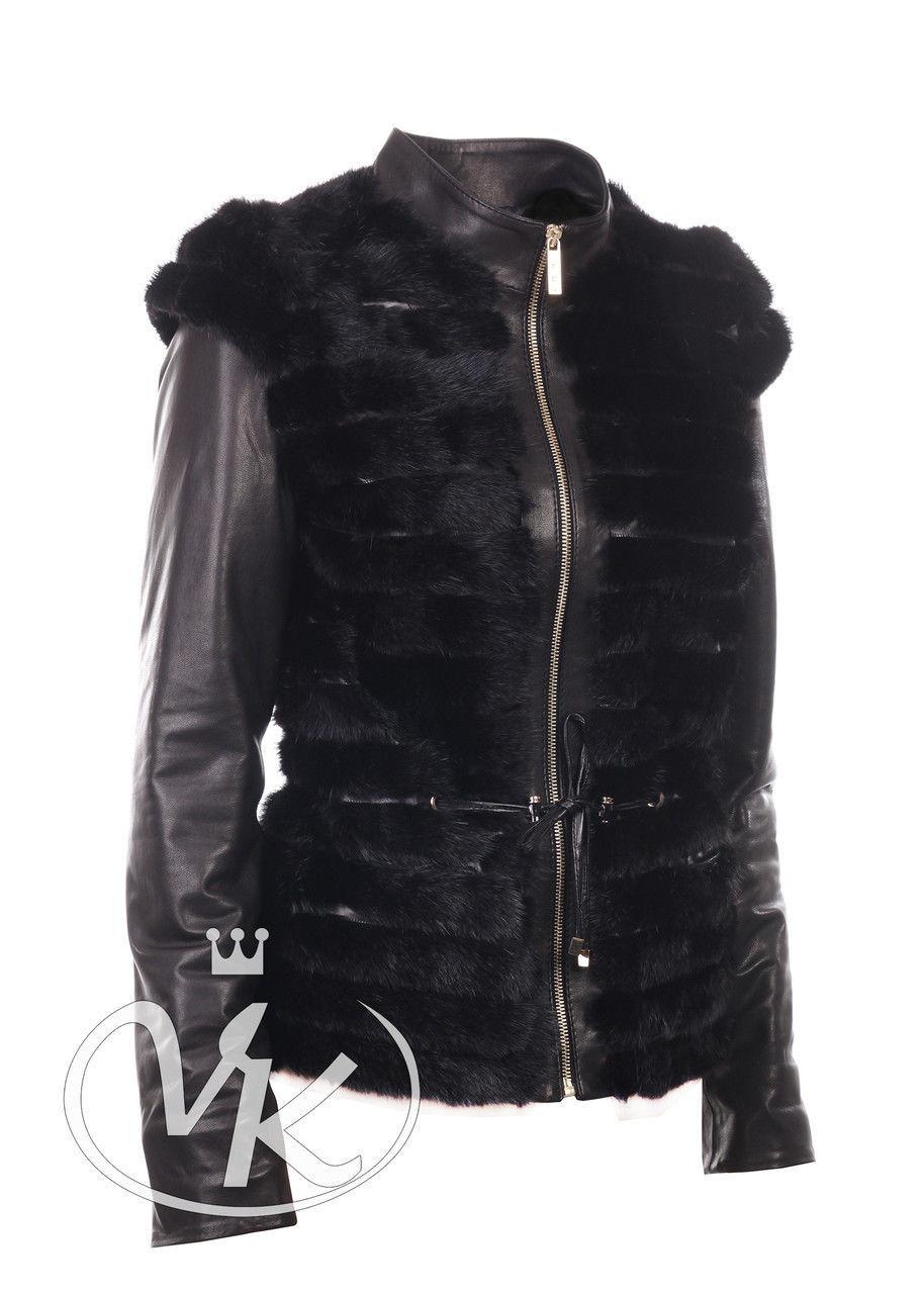 Куртка жилетка с мехом ондатры черная утепленная (Арт. ARI202-2)