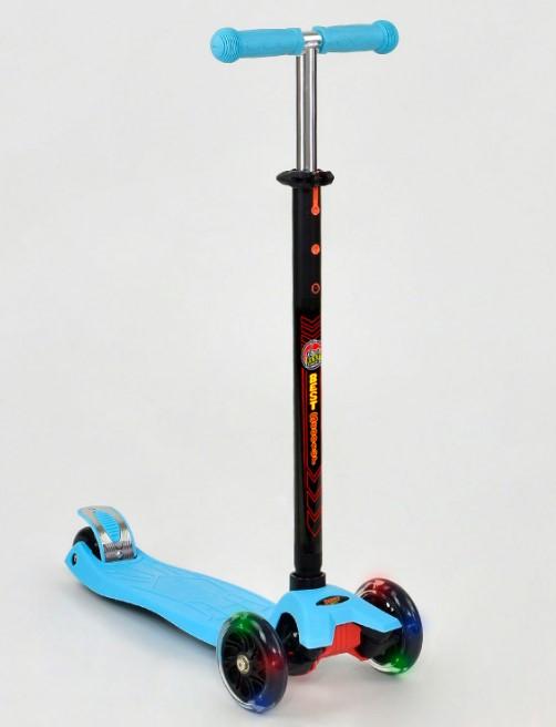 Самокат трехколесный детский со светящимися колесами голубой Best Scooter Maxi 466-113/А24638