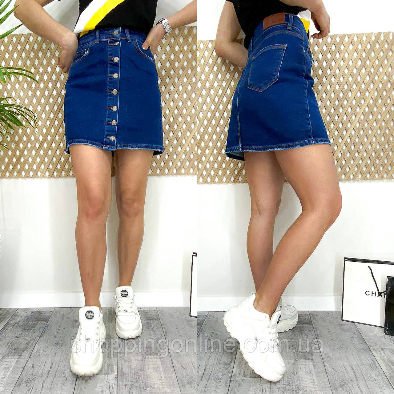 0590-12 Arox юбка джинсовая на пуговицах весенняя стрейчевая (36,38,40, 3 ед.)