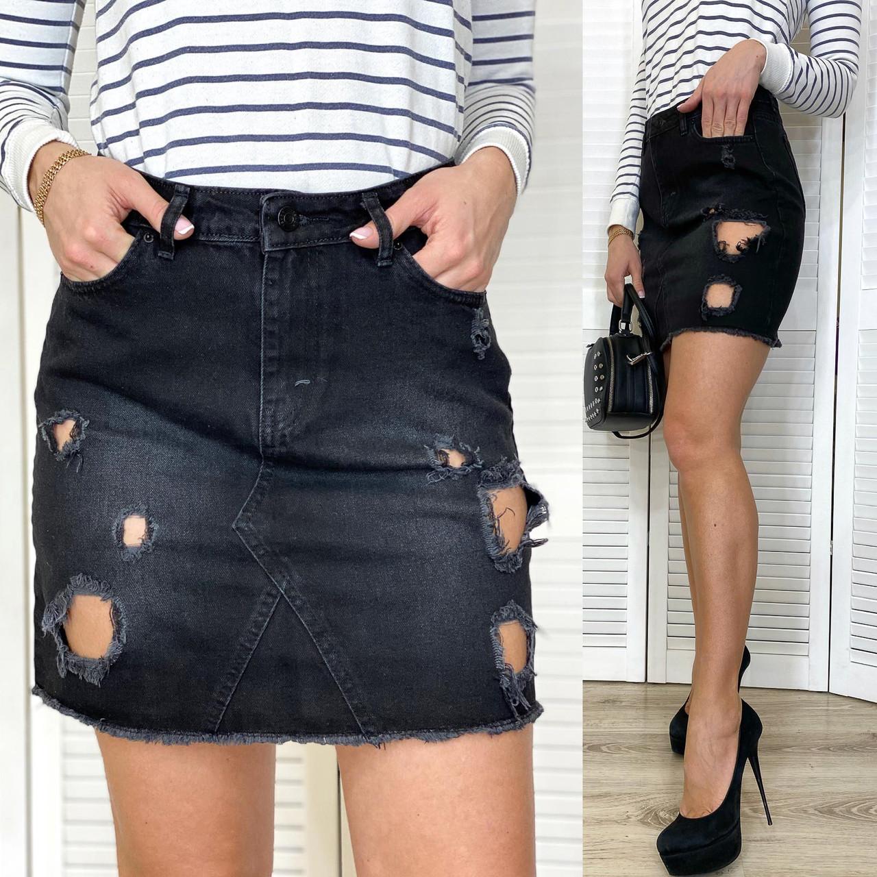 0827-01 TopShop юбка джинсовая темно-серая с рванкой весенняя котоновая (XS,S,M,L, 4 ед.)