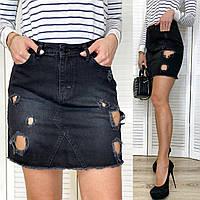 0827-01 TopShop юбка джинсовая темно-серая с рванкой весенняя котоновая (XS,S,M,L, 4 ед.), фото 1