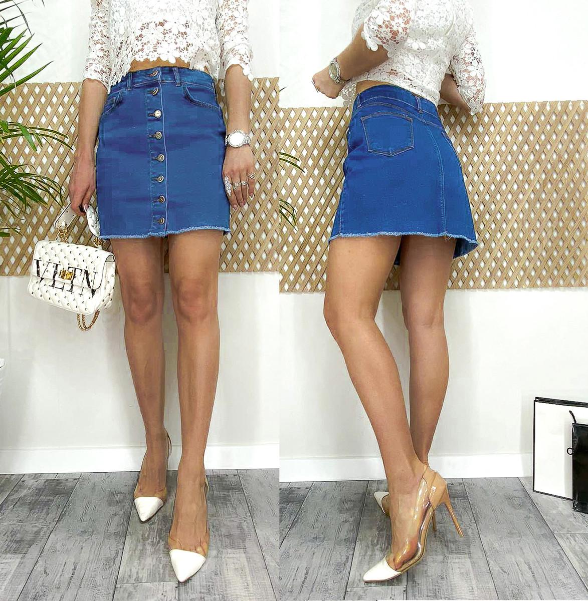 0055-01-12 Arox юбка джинсовая на пуговицах весенняя котоновая (34,38,40, 3 ед.)