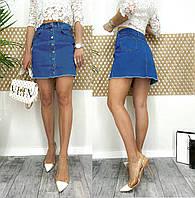 0055-01-12 Arox юбка джинсовая на пуговицах весенняя котоновая (34,38,40, 3 ед.), фото 1