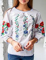 Женская блузка - вышиванка Ева, рукав 3\4,ткань сорочечная р. 44,46,48,50,52 белая,жіноча вишиванка
