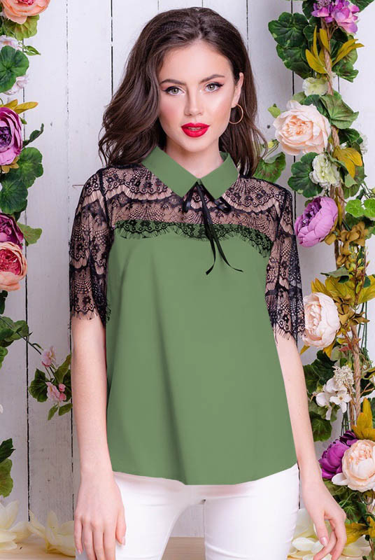 Блузка з асиметрією Саріта хакі