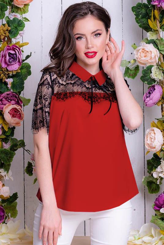 Красная блузка с кружевом Сарита