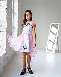 """Нарядне плаття на дівчинку """"Лея"""",вишиванка, розміри 98,104,110,116,122,128,134 ,140, біле з рожевим, сукня"""