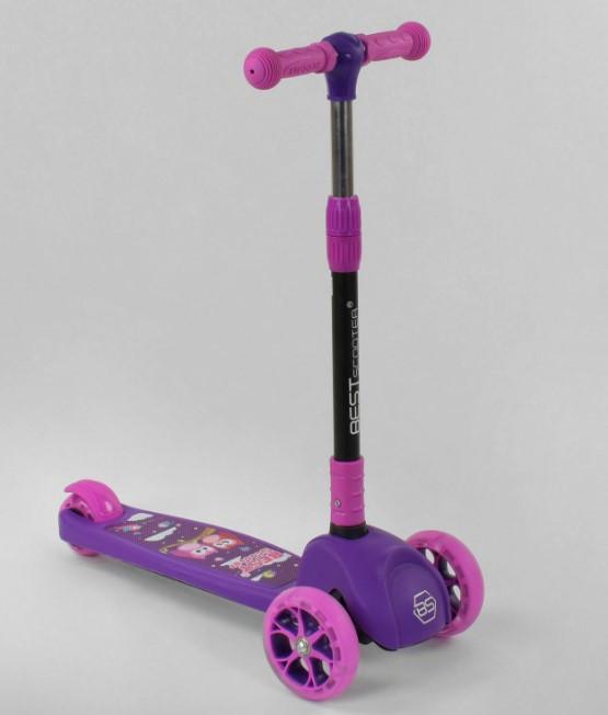 Самокат трехколесный детский складной руль светящиеся колеса принт фиолетовый Best Scooter Maxi63440