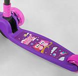 Самокат трехколесный детский складной руль светящиеся колеса принт фиолетовый Best Scooter Maxi63440, фото 4