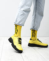 Женские кожаные кроссовки туфли на шнурках желтые натуральная кожа