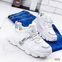 Женские кроссовки белые с серым эко-кожа + рефлективные вставки