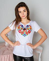 Жіноча,ошатна, футболка-вишиванка семицвіт, тканина трикотаж. р. 42,46,48,50,52,54 біла ,жіноча вишиванка