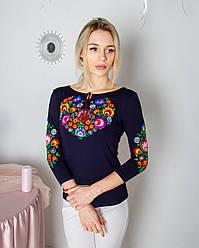 """Женская футболка-вышиванка """"Семицвет"""" большого размера , рукав 3/4,  р.42,44,46,48,50,52,54,56,58 т.синяя"""