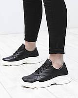 Женские кожаные кроссовки туфли на шнурках черные белая подошва натуральная кожа