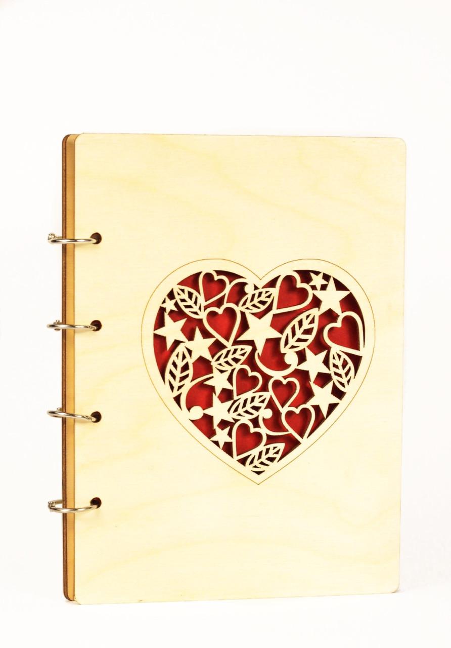 Блокнот А5 80л Сердце, деревяный, LaserBox
