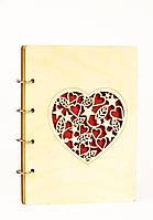 Блокнот А5 80л Сердце, деревяный