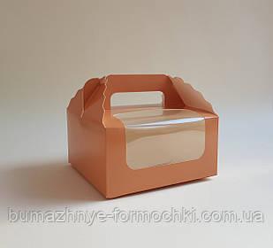 Коробка для капкейков, кексов на 4 шт., цвет капучино, 170*170*85