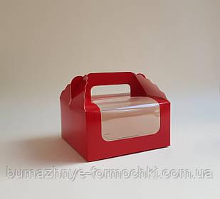 Коробка для капкейков, кексов на 4 шт., красная, 170*170*85