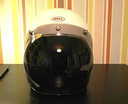 Жёлтый бабл визор под мото шлем каску ретро Полулицевик Кастом, фото 3