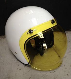 Жёлтый бабл визор под мото шлем каску ретро Полулицевик Кастом, фото 2