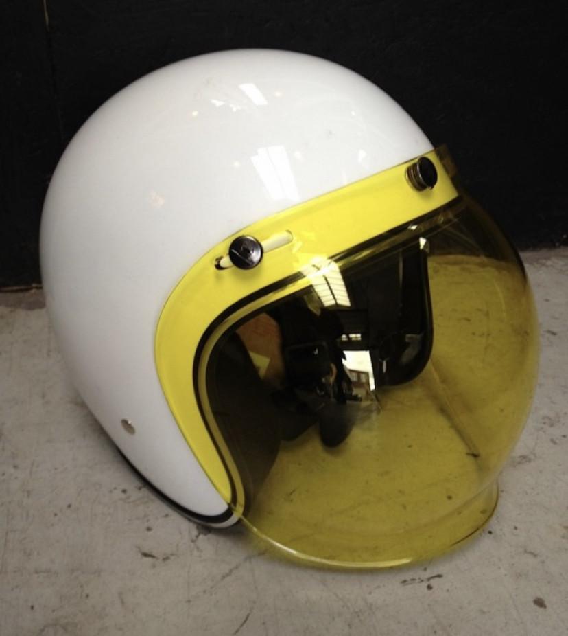 Жёлтый бабл визор под мото шлем каску ретро Полулицевик Кастом