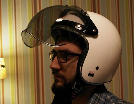 Прозрачный бабл визор под мото шлем каску ретро Полулицевик, фото 2