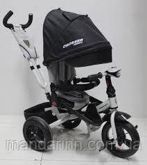 Велосипед дитячий триколісний AZIMUT T-400 NEO AIR з фарою. Чорний