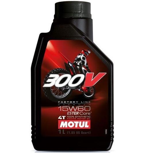 Масло для 4-х тактных двигателей 100% синтетическое эстеровое MOTUL 300V 4T Factory Line Off Road SAE 15W60 1л