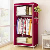 Тканевый шкаф органайзер портативный 1 секция (Бордовый)