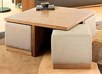 """Комплект мягкой мебели """"Вару"""", комплект деревянной мебели, мебель для гостиной, столик и пуфики, пуфи"""