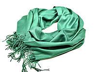 Шарф женский демисезонный длинный натуральный с бахромой зеленый, фото 1