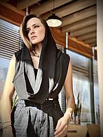 Снуд хомут женский демисезонный натуральный льняной черный, фото 1
