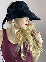 Шляпа козырек женская вязаная хлопок с бантом на липучке  черная