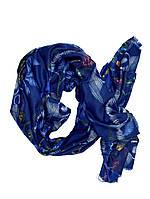 Синий женский шарф принт из хлопка, фото 1
