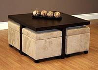 """Комплект мебели """"Делли"""", комплект деревянной мебели, мебель для гостиной, столик журнальный и пуфики, пуфи"""