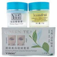 Набор кремов от пигментных пятен Зеленый чай Yinni 2 в 1. Стекло.