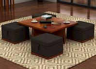 """Комплект мягкой мебели """"Суф"""", комплект деревянной мебели, мебель для гостиной, столик журнальный и пуфики"""