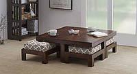 """Комплект мягкой мебели """"Свенг"""", комплект деревянной мебели, мебель для гостиной, столик журнальный и пуфики"""