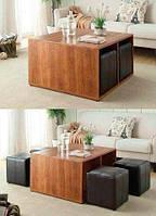 """Комплект мягкой мебели """"Чарльз"""", комплект деревянной мебели, мебель для гостиной, столик журнальный и пуфики"""