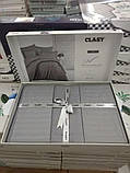 Комплект постельного белья Clasy Strip сатин однотонный Gri, фото 4