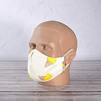 Маска, повязка, защитная многоразовая, сатин - 100% хлопок, с принтом 7