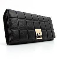 Кошелек черный женский деловой кожаный на кнопке ch-514a bla