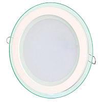 Светильник LED встр. BIOM GL-R 18W стекло круглый