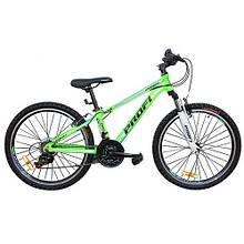 "KMG24A315-L-2B Велосипед 24 д.  алюм.рама 12"",Shimano 21SP,алюм.VB,двойн.обод,зелено-голуб."