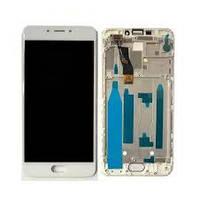 Дисплей для телефона Meizu M5 Note (M621) с сенсорным стеклом в рамке (Белый) Оригинал Китай
