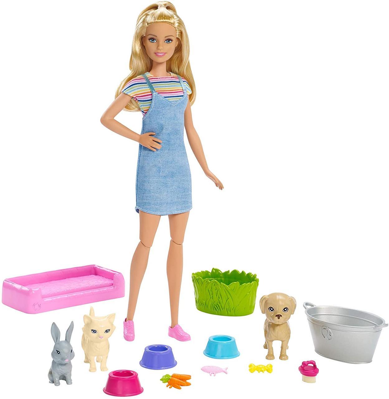 Лялька Барбі купання вихованців Barbie Play 'N' Wash Pets Doll and Playset