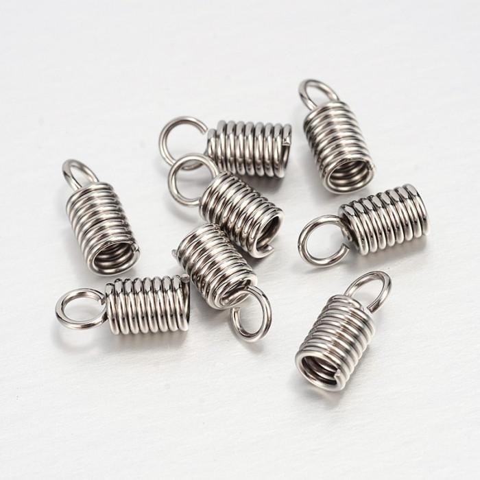 Концевики-Пружинки для Шнура, Нержавеющая Сталь, Размер: 10х4мм, Отверстие 2.5мм/ Упак.: 20 шт